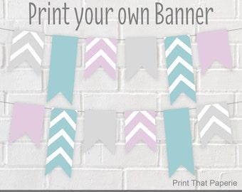 Summer Birthday Banner - Chevron Party Banner - Chevron Birthday Bunting - Summer Party Banner - Pink and Blue Banner