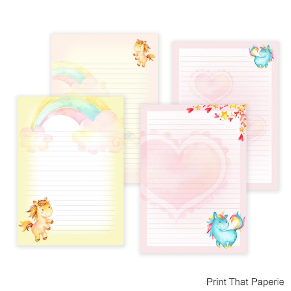 Unicorn Printable Writing Paper   Stationary Paper   Letter Writing Set    Unicorn Note Paper   Printable Journal Pages   Scrapbooking Paper  Print Writing Paper