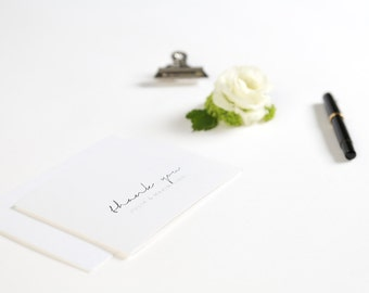 Danksagungskarte Black & White, Klappkarte oder Postkarte, auf Wunsch mit Foto, inklusive Umschlag
