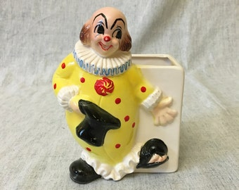 Vintage Ceramic Clown Planter, Made in Japan Kitsch Planter