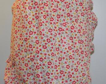 Vintage Apron - Red floral print on white back ground