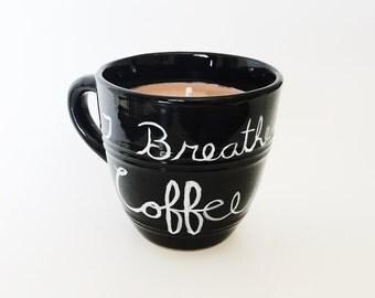 Hazelnut Coffee Candle/ coffee lovers gift/ I Breathe Coffee/ natural soy wax/ refillable/ zero waste/ Black coffee mug candle