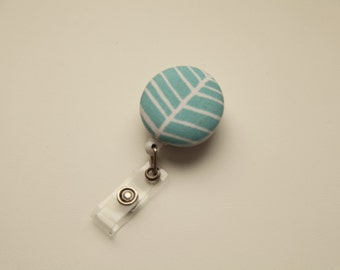 Light Blue Herringbone Retractable ID Badge Reel - FREE SHIPPING with another purchase - Name Badge, Tag, Nurse , Teacher Badge Holder