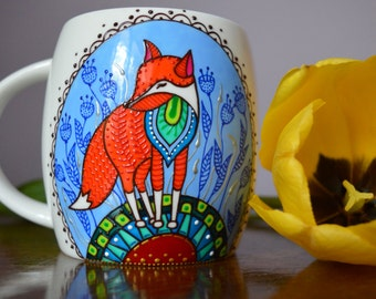 Fairy Fox Coffee Mug, Multicolour Ceramic Custom Handpainted Mug, Gift for Her, Present for Red-head, Foxy Mug