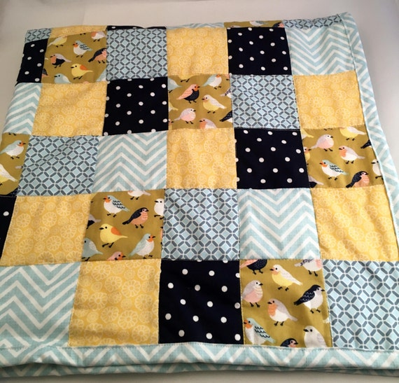 Blue Bird Baby Blanket/Blue & Yellow Baby Blanket/Handmade