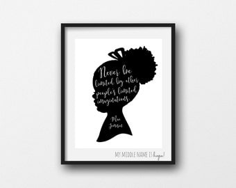 Printable nursery art print, Mae Jemison, imagination print, little girl silhouette, black and white nursery wall art, imagination print