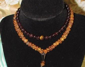 Garnet and Sculpted Citrine Prayer Beads