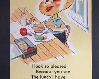 Vintage School Poster; 1950s National Dairy Council Food Advertising Posters; Ephemera; Vintage Advertisement; Schoolhouse Decor