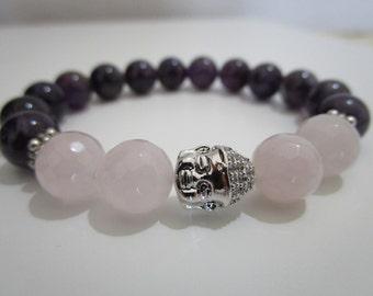 Amethist bracelet, Rose quartz bracelet, Buddha bracelet, Yoga bracelet, Yoga jewelry, Buddhist jewelry, Stone bracelet, Gift for women