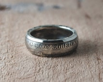 Coin Jewelry, double sided coin ring, Soviet Union USSR 1 Ruble 1964, hand polished, mens accessories, worldwide coin choice, birthday gift