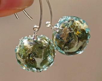 Lampwork and silver earrings, Glass Earrings, artisan lampwork bead 3D, Lampwork flower artisan bead earrings, green blue flowers, aqua