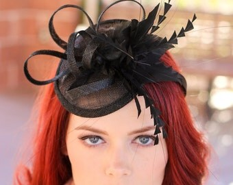 Black Fascinator, Womens Tea Party Hat, Church Hat, Derby Hat, Fancy Hat, Black Hat, Tea Party Hat,wedding hat