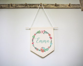 Personalized Nursery Art, Baby Name Wall Hanging, Floral Nursery Name, Name Wall Hanging, Floral Name Fabric Banner, Floral Wreath Baby Name
