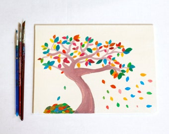 Colored leaves tree in the wind painting, acrylic painting of tree on canvas panel