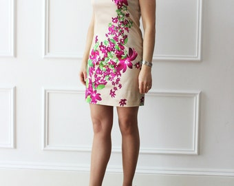 floral dress, dress, dress, dress with suspenders Italian fashion, fancy dress, dress, party dress, cocktail dress, dress
