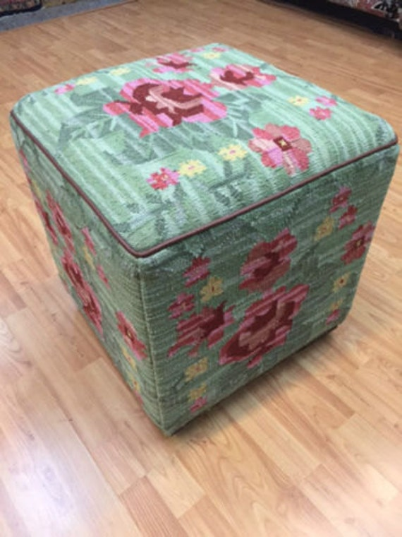 "Turkish Kilim Cube Footstool - Gorgeous Very Unique - 19"" L x 19"" W x 19"" H"