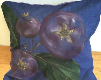 Hand-Painted Linen Blueberry Cushion