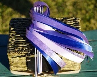 50 Wedding Ribbon Wands with Satin & Glitter Ribbon / Wedding Ceremony Exit / 3-Strand Ribbon Wands / Glitter Ribbon Wands / Wedding Wands