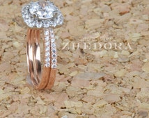 2.10 CT Round Halo Engagement Ring band Bridal set Solid 14k Rose & White Gold, Unique Rose Gold Engagement Rings by Zhedora