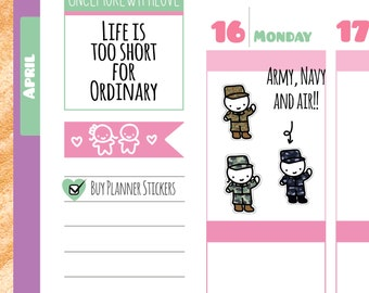 Munchkins - Military Army, Navy, and Air Force Munchkin Planner Stickers (M13)