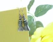 Black Tassel Simple and Small Earrings | Black Motif Bead | Silver Ornate Hook