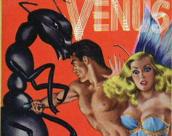 pulp sci fi print — An Earthman on Venus — vintage book cover repro