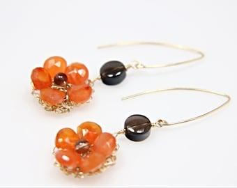Neon Orange Carnelian flower and smoky quartz gold-filled earrings, beaded flower earrings