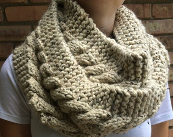 Oversized Infinity Scarf Handmade Cable Knit Oatmeal Creme