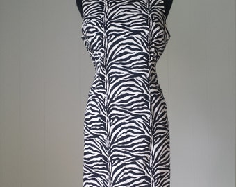 80s Zebra Print Stretch Mini Dress by California Concepts || Labeled Size 12