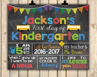First Day of Kindergarten Chalkboard Sign, First Day School Stats Photo Prop, Personalized Back to School Sign, Last Day of School, Digital