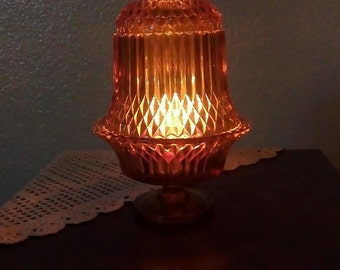 Vintage Indiana Glass 2 Piece Fairy Lamp Light - Amber Tiara Diamond Point (1970s)