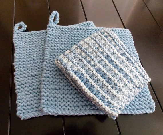 Hand Knitted Cotton Pot Holder and Dish Cloth Set Blue Pot