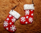 Еarrings socks ,Christmas sock Earrings,white and red earrings ,sock earrings snowflakes,Christmas jewelry, polymer clay ,earrings for party