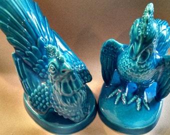 Rooster Figurines-Pair of ACF Ceramic Hong Kong