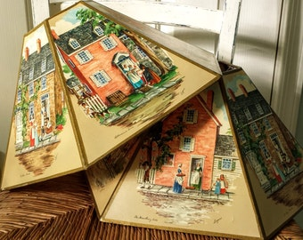 Vintage & RARE Folk Art Lamp Shades 6 Panels Each With Signed Lithographs Of Early Americana By Morris And Bendien Of NY  Signed By Logan.