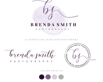 Watercolor Logo Design, Custom Logo Design, Purple gold Branding kit, Premade logo, Branding Package, stamp, Photography Logo, watermark