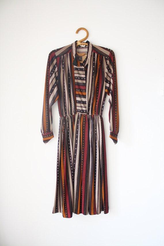 sleeve japanese vintage dress indigenous stripe pattern