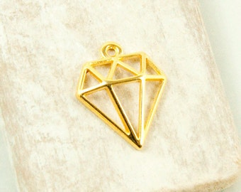 2 x diamond gold plated pendant #3602