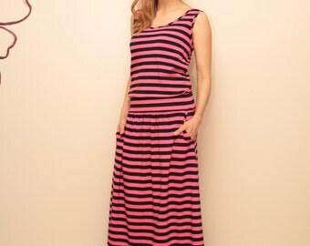 Pink & Dark Blue Striped Maxi Dress