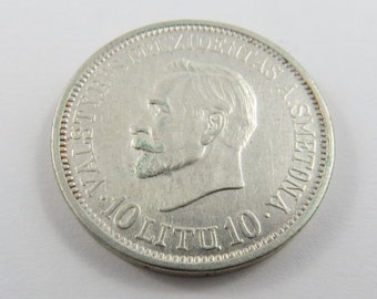 Lithuania 1938 Silver 10 Litu Coin.Subject- 20th Anniversary of Republic.Low Mintage