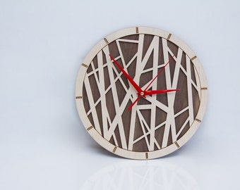 "12"" Bamboo style wood laser cut wall clock modern"