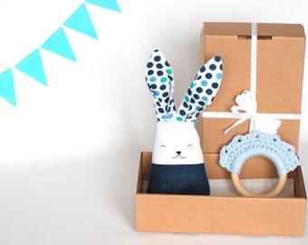 New baby boy toys set - blue polka dots toys set - gift set for toddler boy, Montessori Baby Toys - crochet wooden teething ring