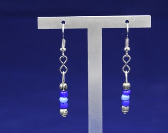 Blue and Silver Bead Earrings
