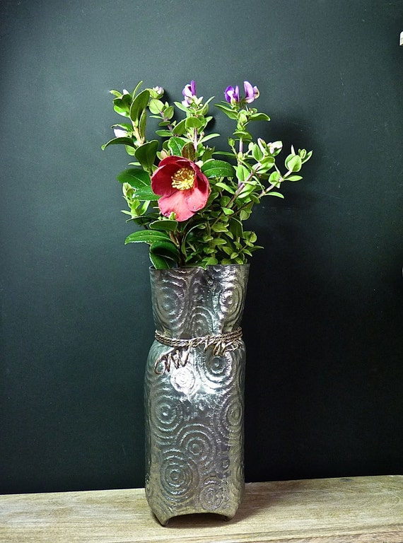 Reserved for Kim ~ ATELIER CHAUDRON PEWTER ~ Hand Made Vase ~ 10 Inches Tall ~ Val David ~ Quebec ~ Canada ~ Vintage