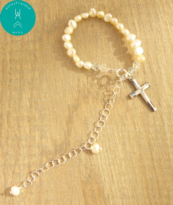 grow with me pearl bracelet baby birth baptism christening