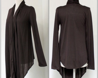 New Designer Asymmetric Hem Long Sleeve Shrug /Cover-Up Drape,Wrap