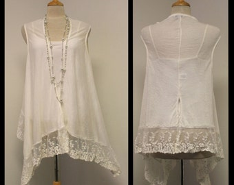 New Designer Asymmetric Net Hem Long Sleeveless front open top