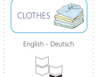 PRINTABLE Vocabulary Cards - Clothes (Bilingual: English to German)