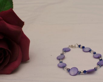 Purple Shell Pearl and Crystal Bracelet
