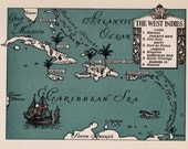 Whimsical CARIBBEAN Map of The Caribbean Print 1940s Pictorial Map Travel Map Gallery Wall Art Gift for Boyfriend Birthday Gift